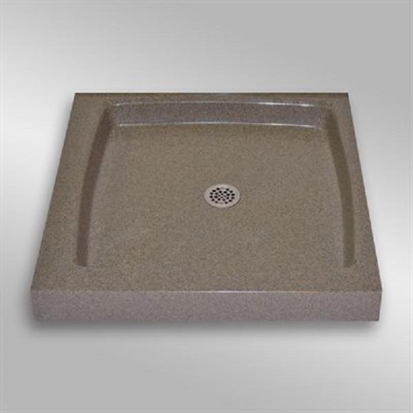 Base de douche unique avec drain centrale, 32 po x 32 po, pierre carioca