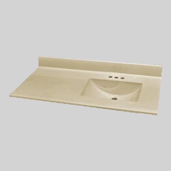 49 pox 22 po Dessus de meuble-lavabo avec bassin integral, os solide