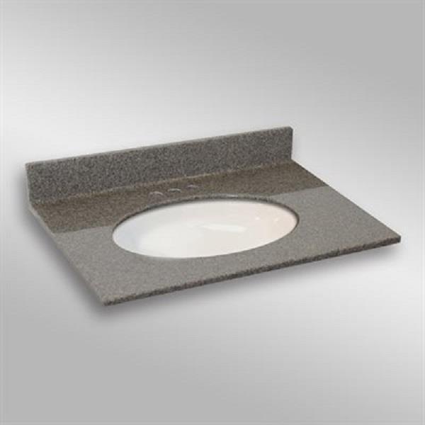 31 pox 22 po Dessus de meuble-lavabo ovale sous-monté, pierre carioca