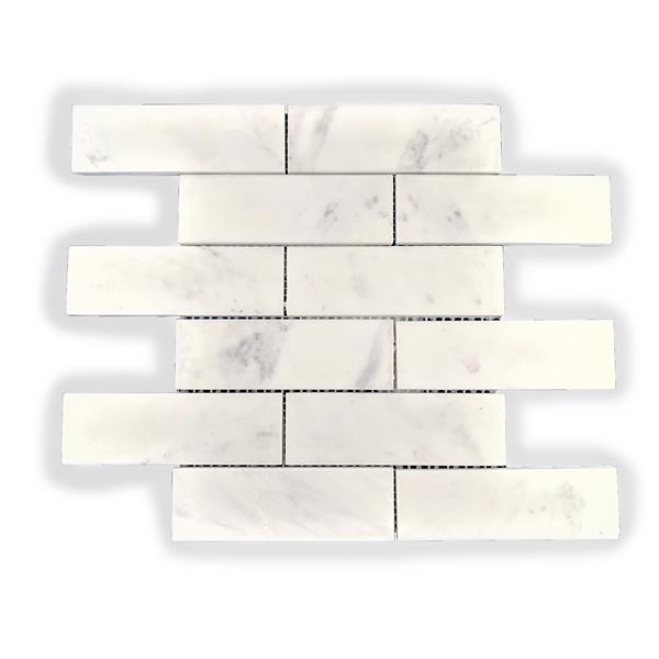 """Tuile de marbre, motif de brique blanc, 5/boîte, 12"""" x 12"""""""