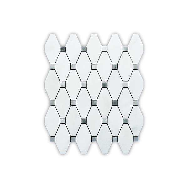 "Mosaïque de marbre, motif octogonal blanc, 5/boîte, 12""x 12"""