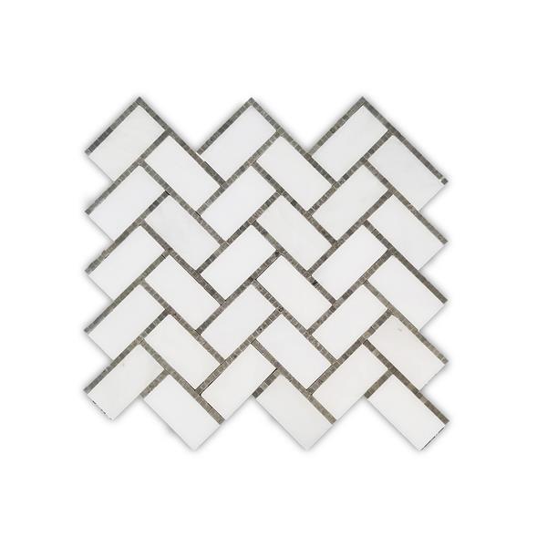 """Masaïque de marbre, motif à chevrons, blanc, 10"""" x 11"""""""