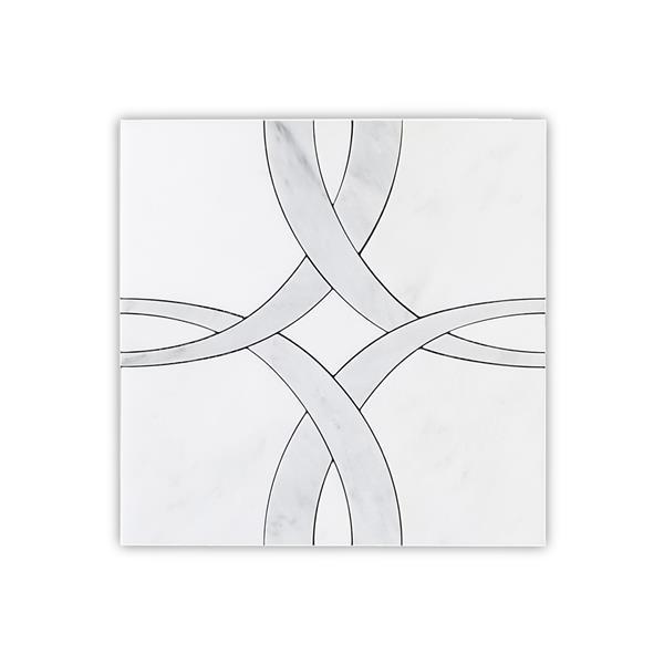 """Tuile de marbre, motif carré/rond, blanc, 5/boîte, 12"""" x 12"""""""