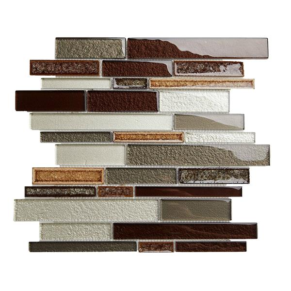 "Mosaïque de verre, motif de brique, brun, 12"" x 12"""
