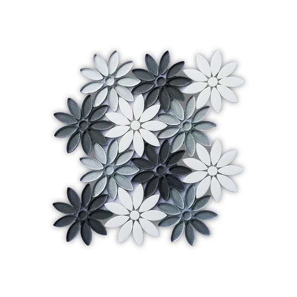 """Mosaïque de marbre, motif floral gris argent, 10"""" x 11"""""""