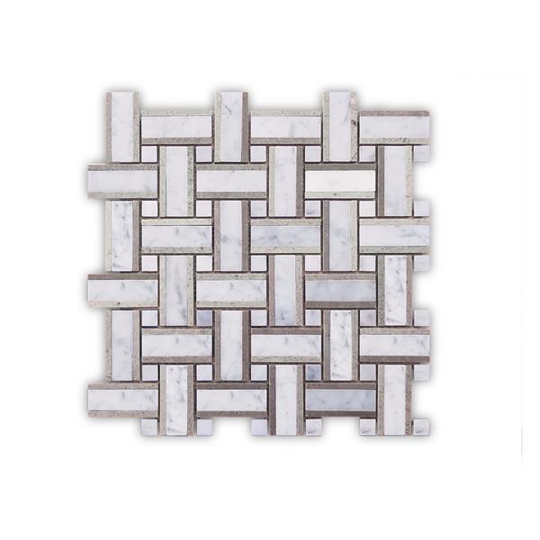 """Mosaïque de marbre, motif tressé gris, 5/boîte, 12"""" x 12"""""""