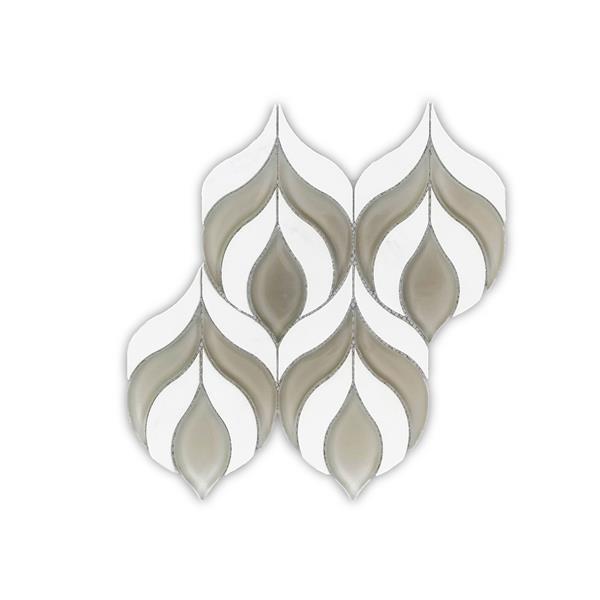 """Tuile de marbre, motif goutte d'eau, gris/blanc, 10"""" x 10.5"""""""