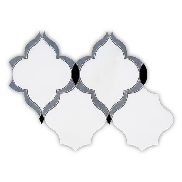 JL Tile Eden Pearl Arabesque Mosaic Tile - White - 5/Box - 10-in x 15-in
