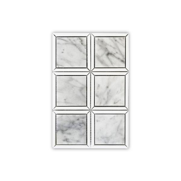 """Tuile de marbre carrée, blanc et gris, 5/boîte, 12"""" x 12"""""""