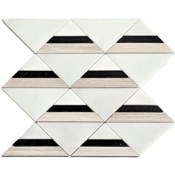 """Tuile de marbre triangulaire, blanc/noir/beige, 12"""" x 12"""""""