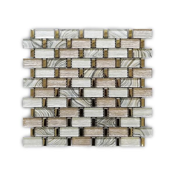 """Mosaïque murale de verre/acier inoxydable, beige, 12"""" x 12"""""""