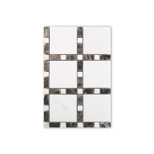 """Mosaïque de marbre, motif carré blanc et beige, 12"""" x 12"""""""