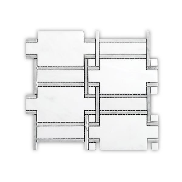 """Tuile de marbre blanche, insertion grise, 0.6"""" x 11"""""""