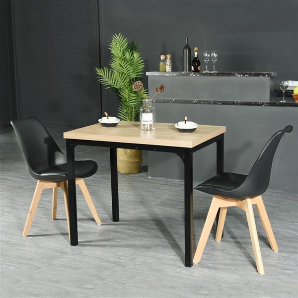 Table salle à manger Marlowe Hm Lmkz, bois et noir