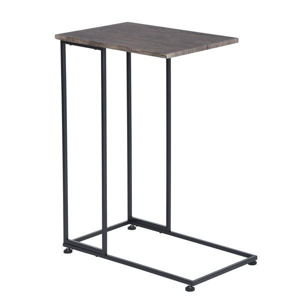 Petite Table D Appoint Furniturer Noir Et Noyer Fonce