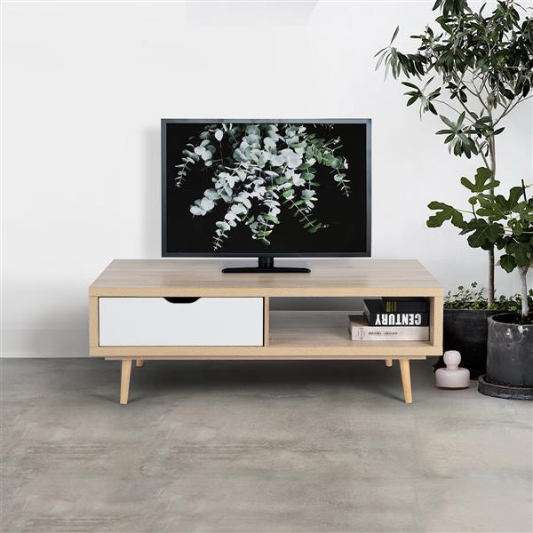 Meuble audio FurnitureR avec un tiroir, hêtre et blanc, 47 po