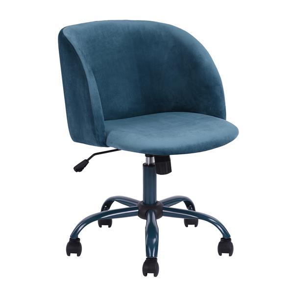 Chaise de bureau FurnitureR en velours bleu
