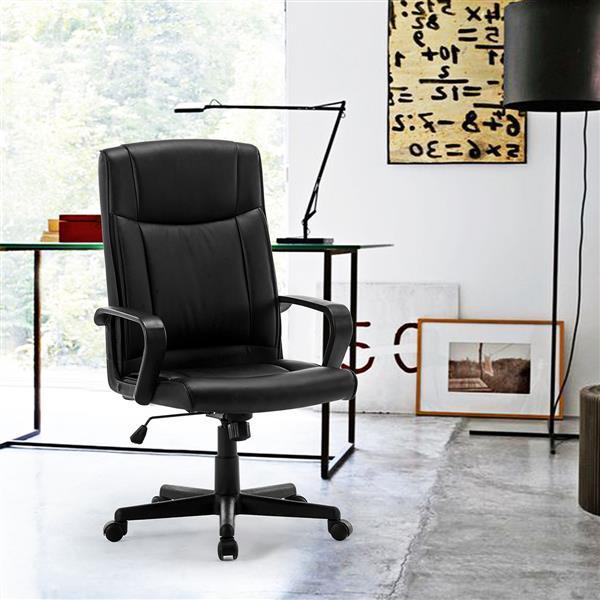 FurnitureR Chaise de bureau de style traditionnel, noire