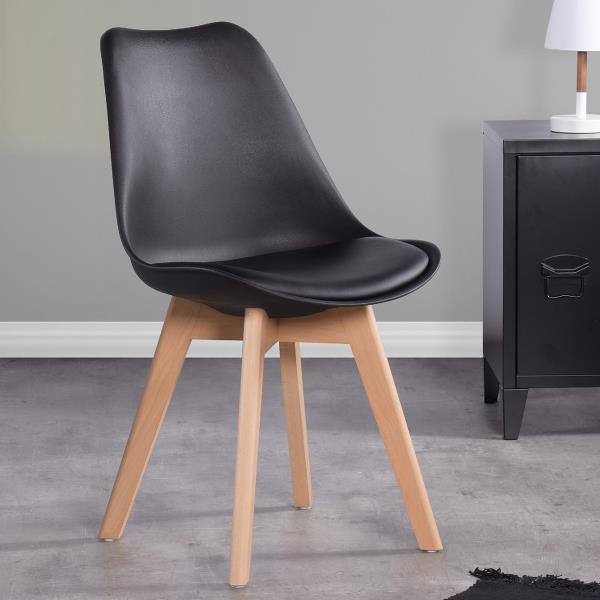 Chaise de salle à manger,  similicuir noir/bois, ens. de 4