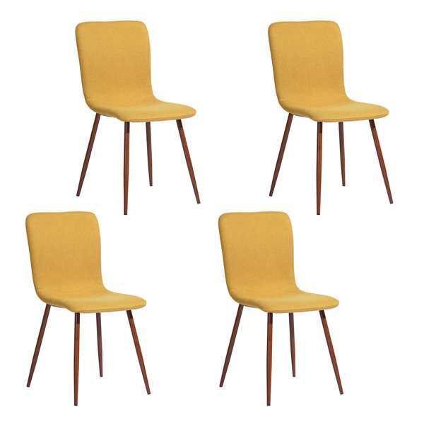 FurnitureR Ensemble de 4 chaises de salle à manger, jaune