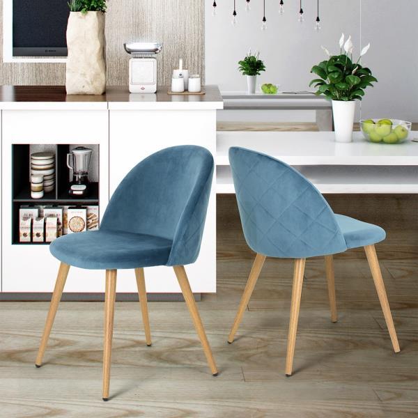 Chaise salle à manger Zomba en velours bleu, ens. de 2