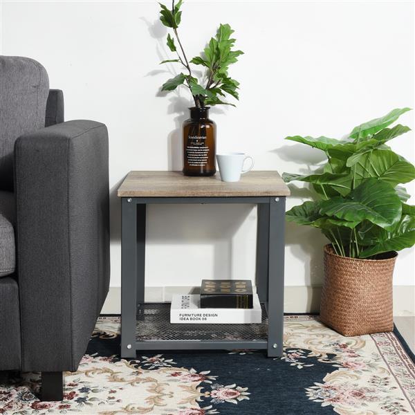 """Table d'appoint carrée FurnitureR, métal noir et bois, 18"""""""
