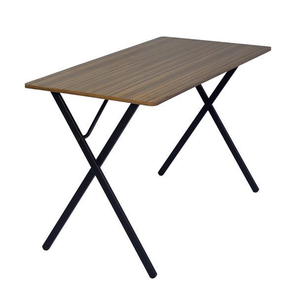 Table d'ordinateur Broca, bois et métal noir