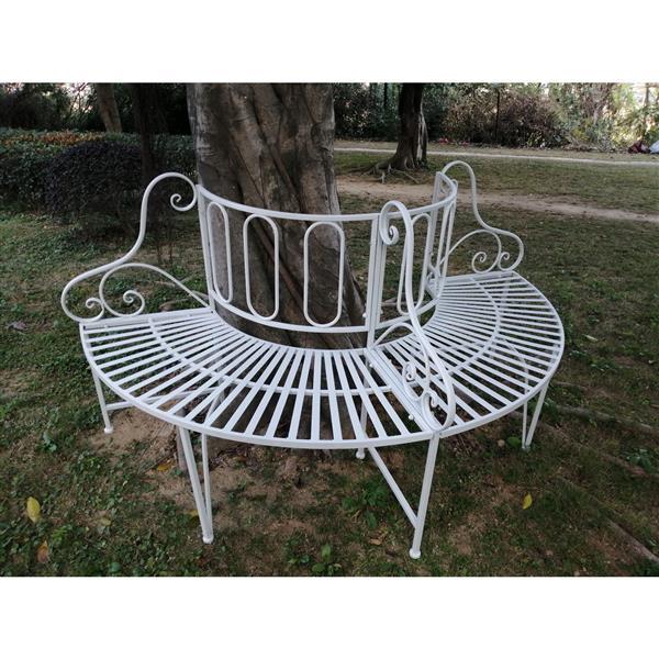 "Hi-Line Gift Metal Tree Garden Bench - White - 69"""