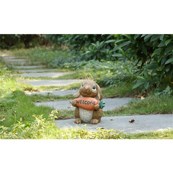 "Statue de jardin, lapin avec panneau de bienvenue, 10"""