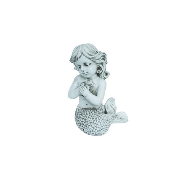 "Statue de jardin, sirène avec coquillages, 12,76"""
