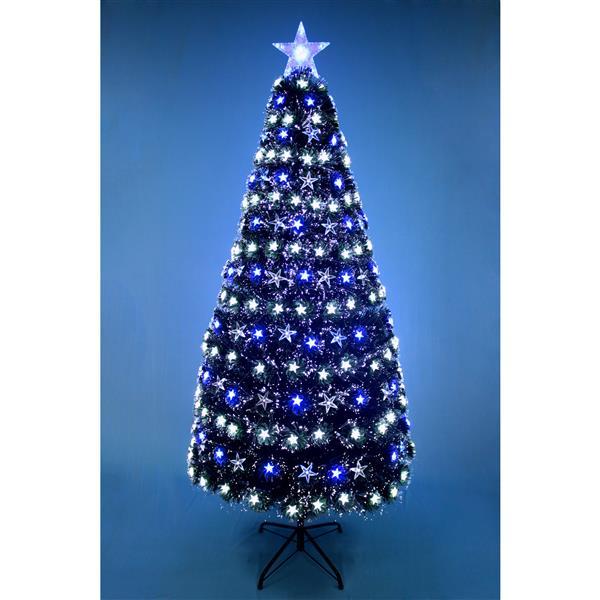 """Hi-Line Gift Christmas Tree - Fiber Optic - Blue/White Stars - 72"""""""