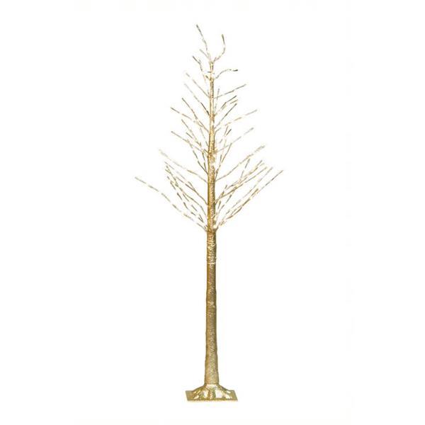 "Hi-Line Gift Gold Glitter Tree - 192 LED Lights - 72"""
