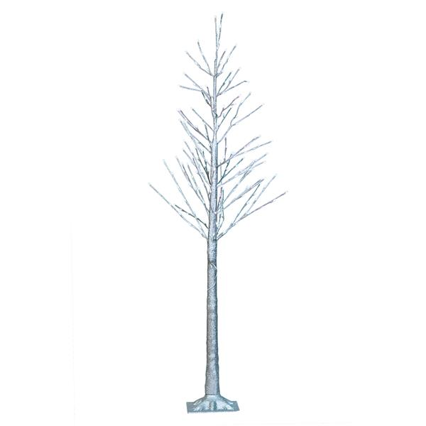 "Hi-Line Gift Silver Glitter Tree - 192 LED Lights - 72"""