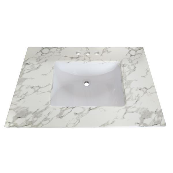 """Dessus de meuble-lavabo en quartz, 37"""" x 22"""", blanc"""