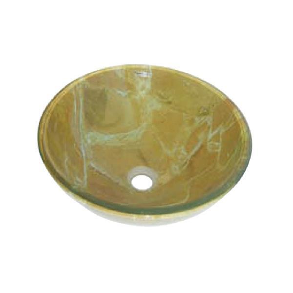 """Lavabo en verre Luxo Marbre, marbré jaune, 16,5"""""""