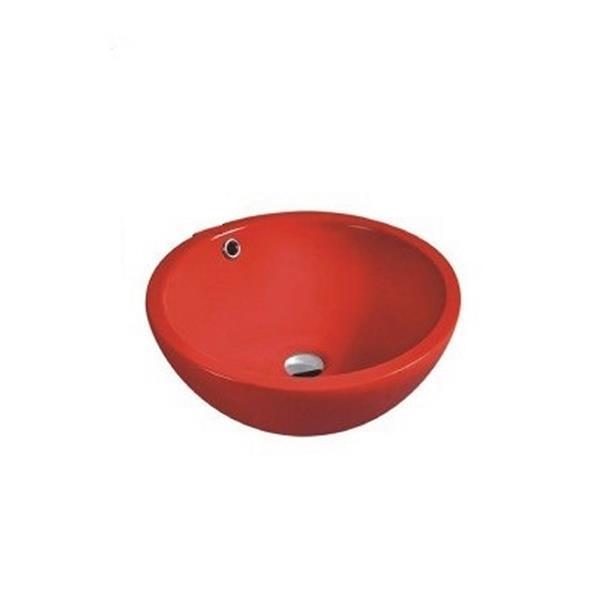 """Lavabo en céramique avec trop-plein, 17,25"""", rouge"""