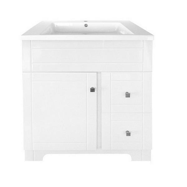 Meuble-lavabo Mirano de Luxo Marbre, 31 po, blanc laqué