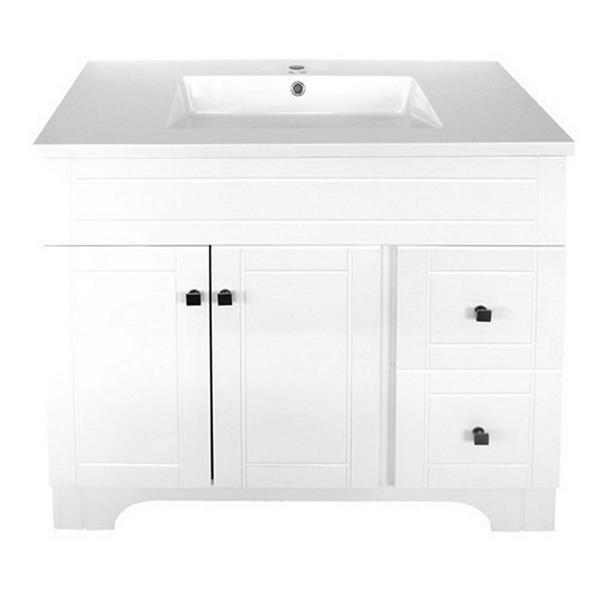 """Meuble-lavabo à 2 portes «Mirano», 37"""", blanc laqué"""