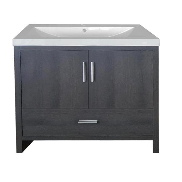 Meuble-lavabo Smally de Luxo Marbre, 35,5 po, gris graphite