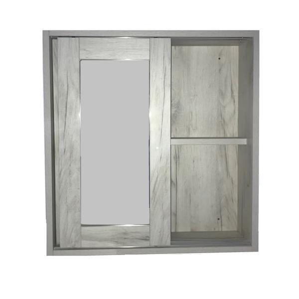 """Pharmacie avec miroir «Eco», 24"""" x 25,25"""", vieux bois blanc"""