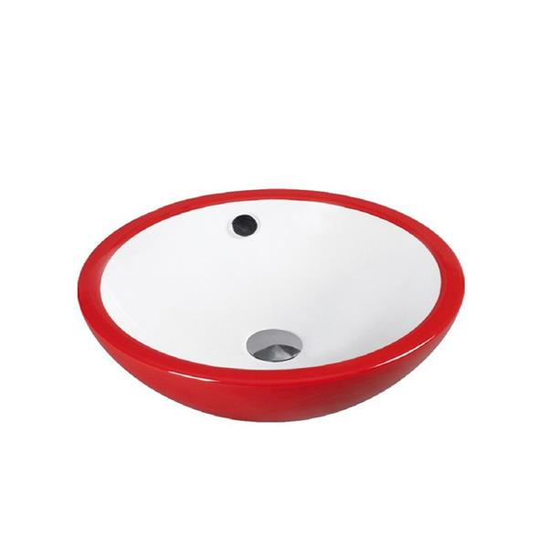 """Lavabo en céramique avec trop-plein, 17,25"""", blanc/rouge"""