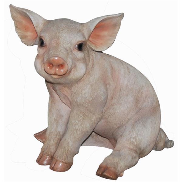 Petit statue de cochon assis, multicolore