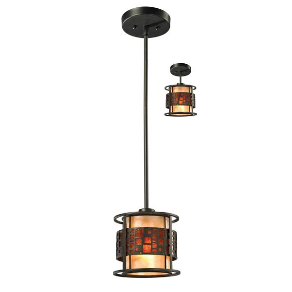 Lumière suspendue mini à 1 lumière «Oak Park», bronze