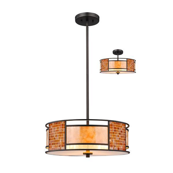 Lumière suspendue à 3 lumières «Parkwood», bronze