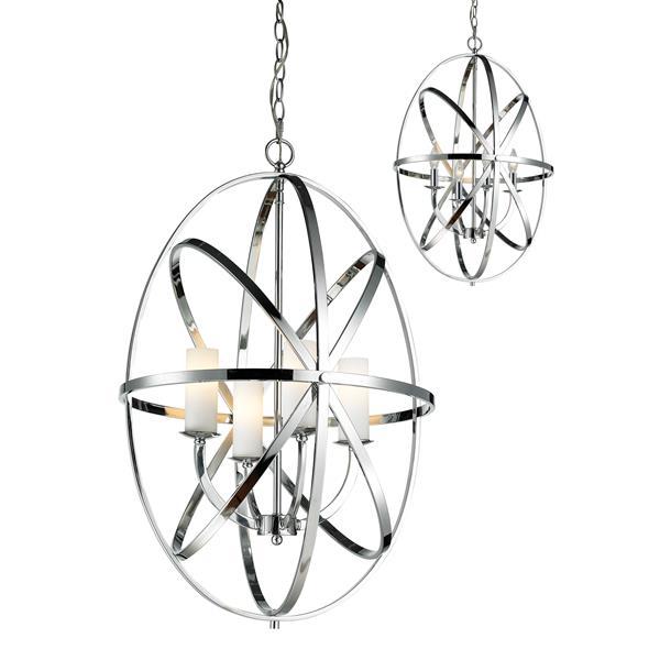 Lumière suspendue à 4 lumières «Aranya», chrome
