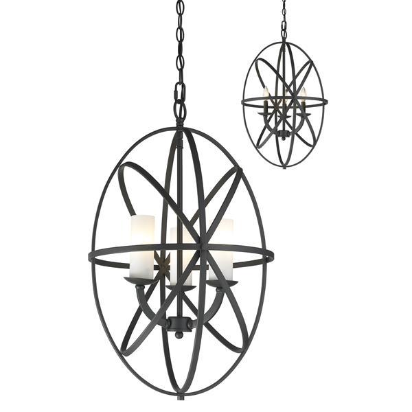 Lumière suspendue à 3 lumières «Aranya», bronze