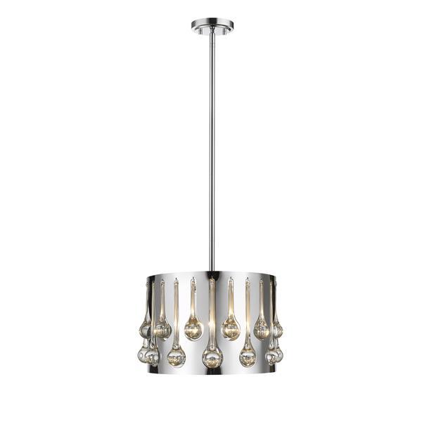 Lumière suspendue à 3 lumières «Oberon», chrome
