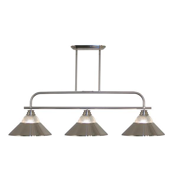 Luminaire à 3 lumières de billard/îlot «Annora», nickel