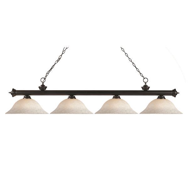 Luminaire à 4 lumières de billard «Riviera», bronze