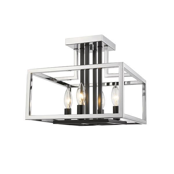 Plafonnier à 4 lumières «Quadra», chrome/noir